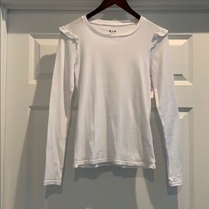 Three Dots White L/S Tee with Ruffle